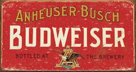 budweiser logo metal sign