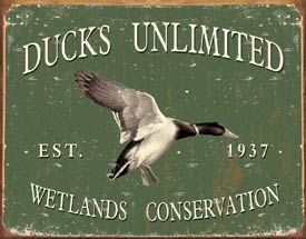 ducks unlimited old logo metal sign